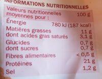 Manchons poulet natures - Nutrition facts