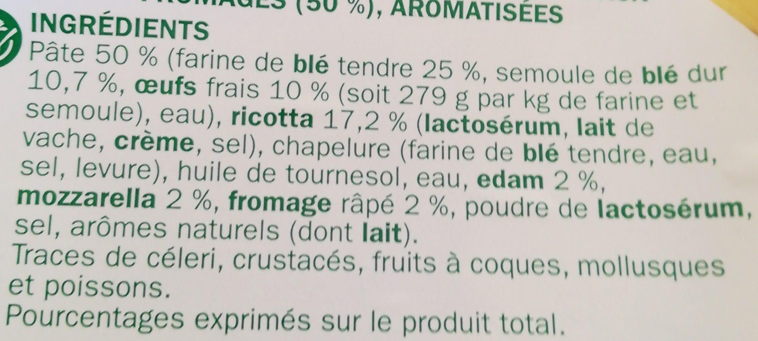 Raviolis 4 fromages - Ingrédients - fr