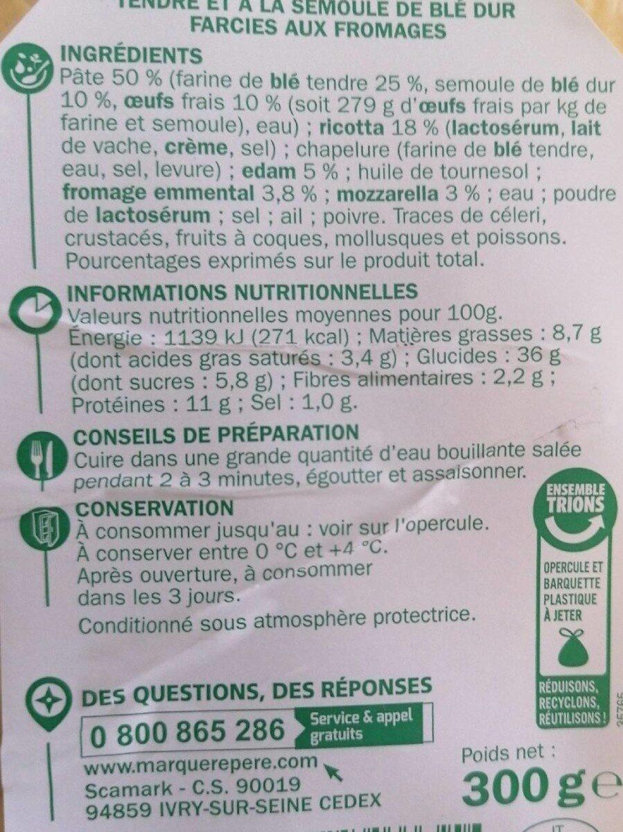 Raviolis 4 fromages - Voedingswaarden - fr