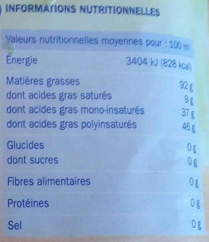 Huile spéciale friture sans odeur - Informations nutritionnelles - fr