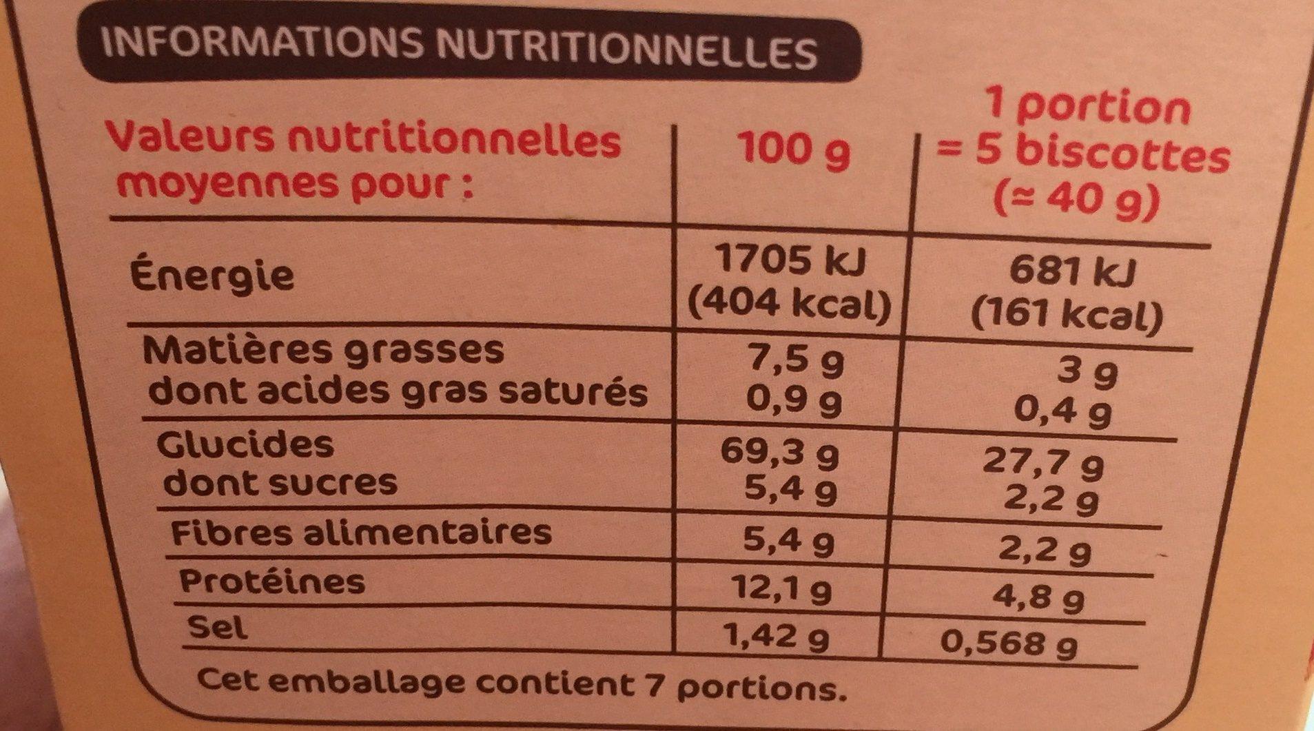 Biscottes aux 6 céréales x 36 - Nutrition facts - fr