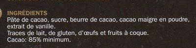 Esprit Noir 85% de Cacao - Ingrédients
