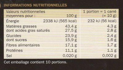 Esprit Noir 85% de Cacao - Informations nutritionnelles
