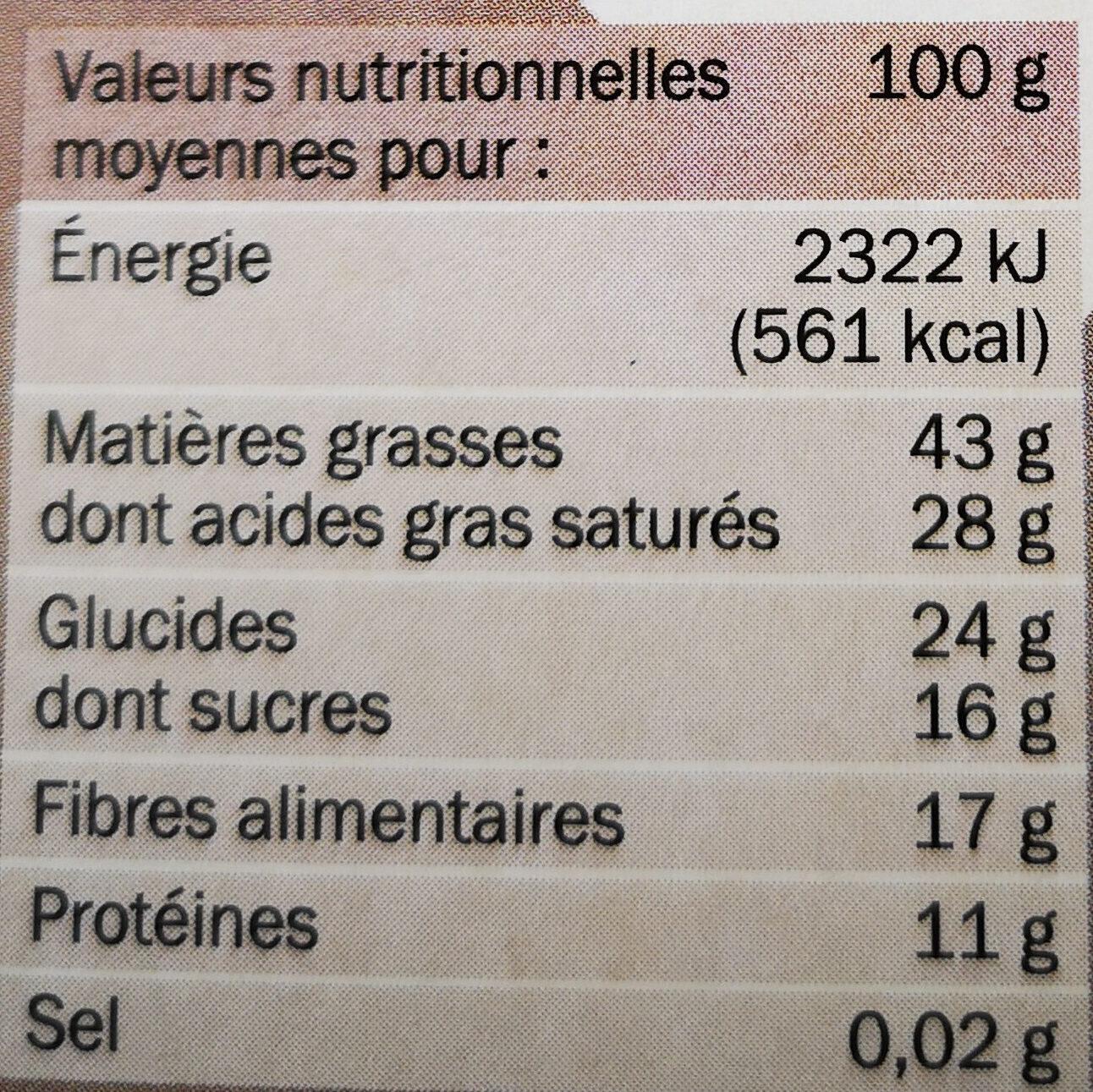 Chocolat noir 85% cacao - Informations nutritionnelles - fr
