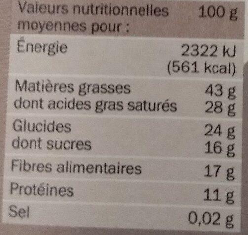 Chocolat noir 85% cacao - Informação nutricional - fr