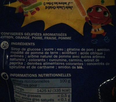 Gélifiés frites - Ingrédients