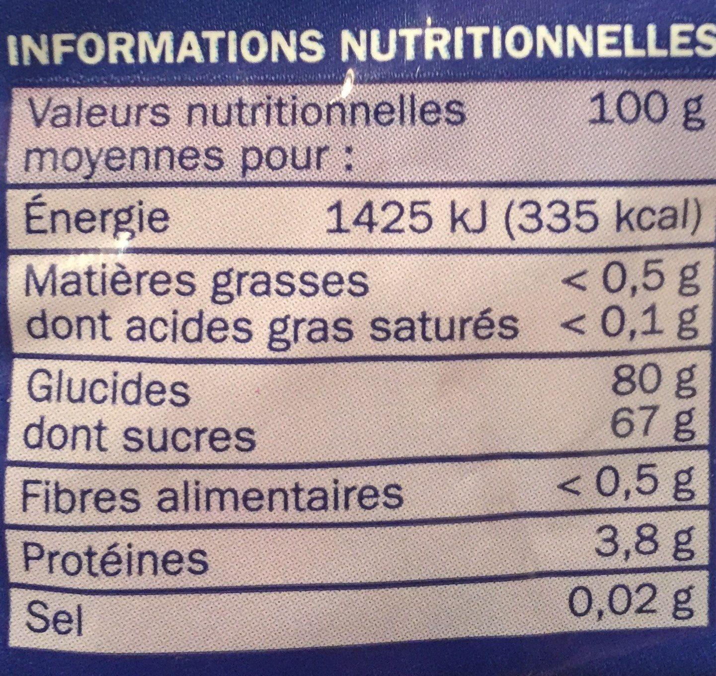Gélifiés frites - Informations nutritionnelles