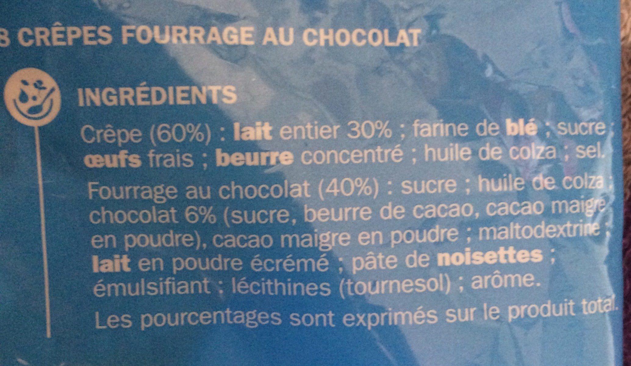 Crêpes fourrées chocolat x 8 - Ingredients
