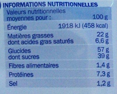 Crêpes fourrées chocolat x 8 - Informations nutritionnelles - fr