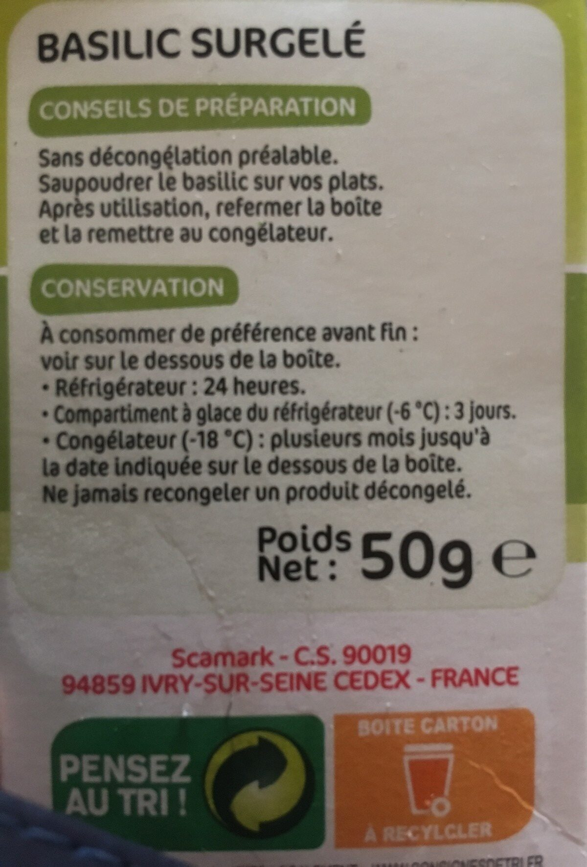 Basilic surgelé - Ingrediënten - fr