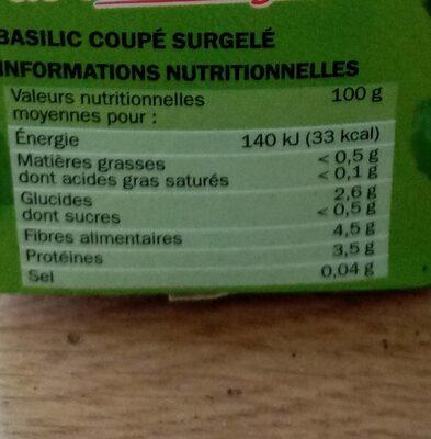 Basilic surgelé - Voedingswaarden - fr
