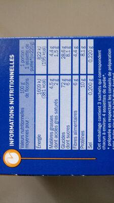 Purée au lait - Nutrition facts - fr