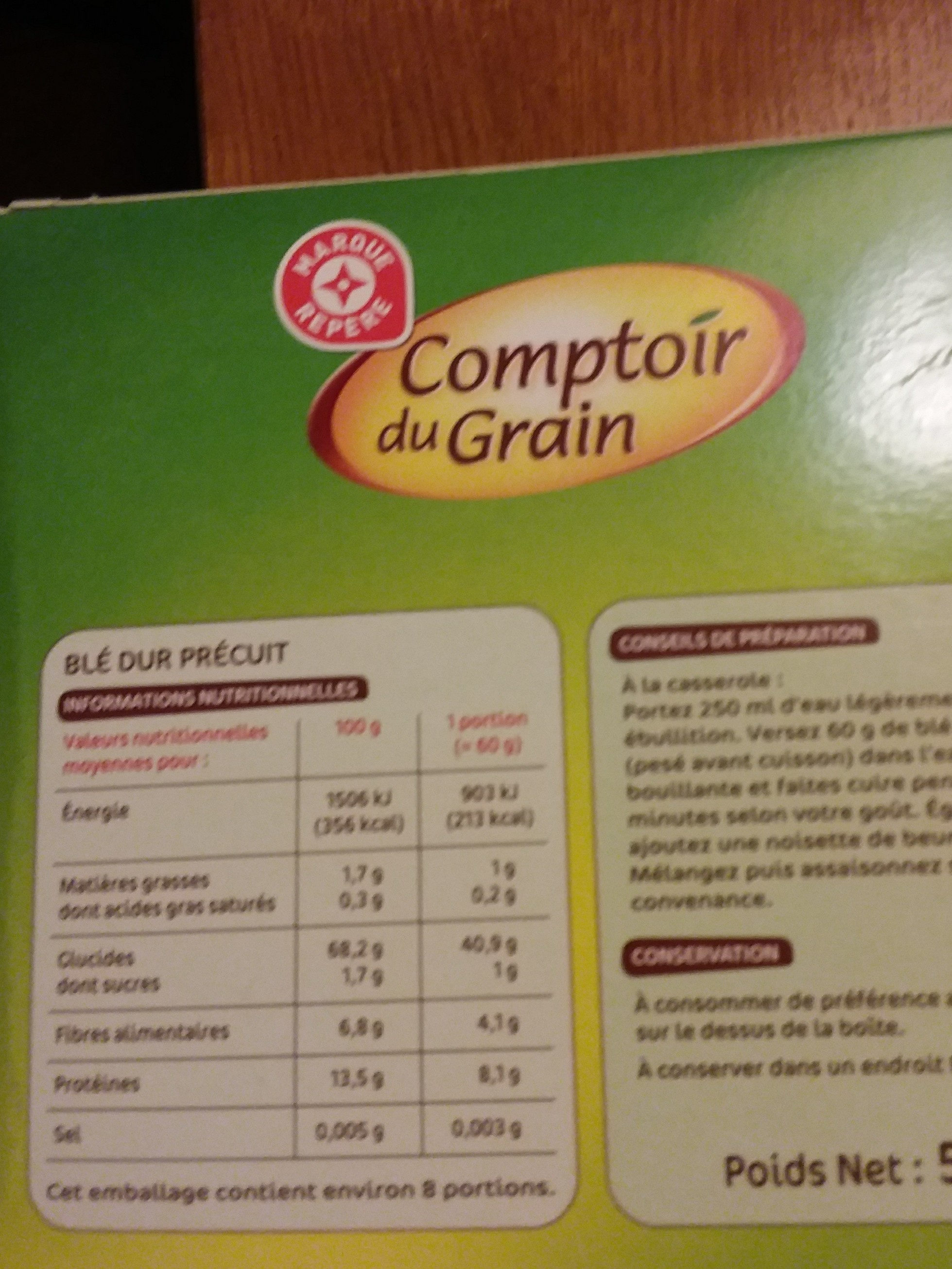 Blé pré-cuit 10 min boite - Ingrediënten