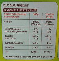 Blé pré-cuit 10 min boite - Voedigswaarden
