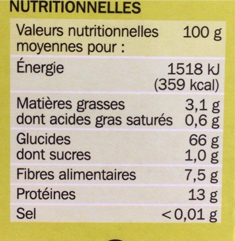 Blé saveur cuisson rapide - Nutrition facts - fr