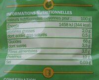 Cheveux d'ange - Informations nutritionnelles - fr