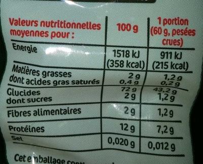 Torsades cuisson rapide - Informations nutritionnelles - fr