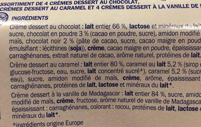 Crèmes dessert tri-parfums - Ingredienti - fr