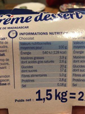 Crèmes dessert tri-parfums - Informazioni nutrizionali - fr