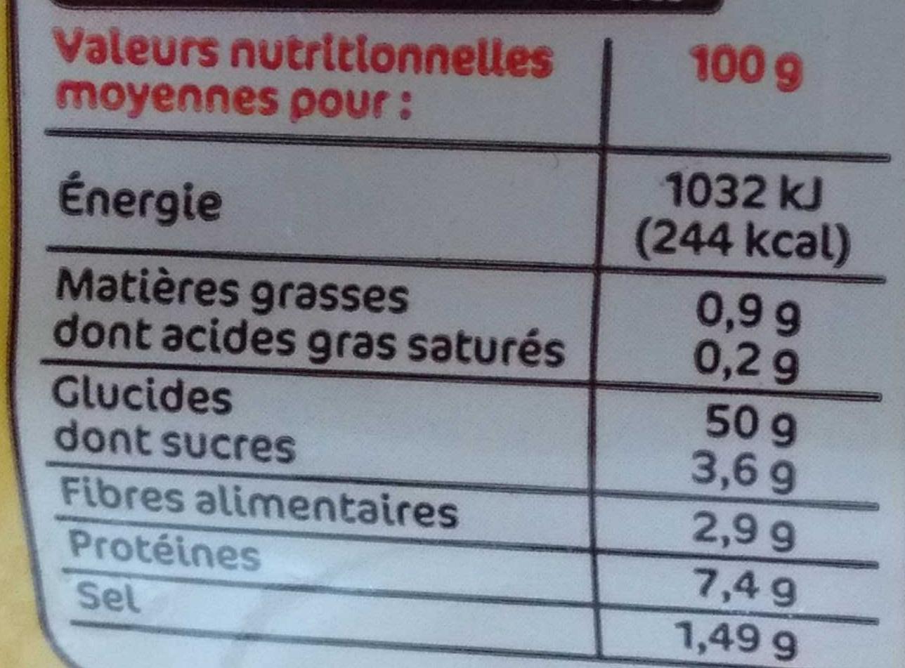 Demi baguettes précuites nature - Nutrition facts