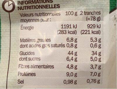 Pain de mie spécial sandwich aux 7 céréales - Nutrition facts - fr