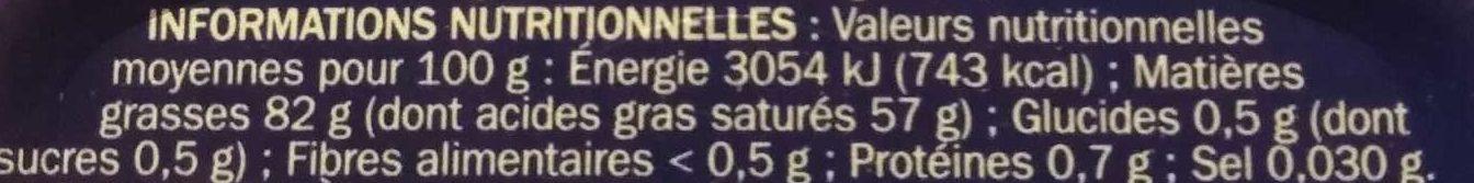 Beurre tendre doux 82% mg - Valori nutrizionali - fr