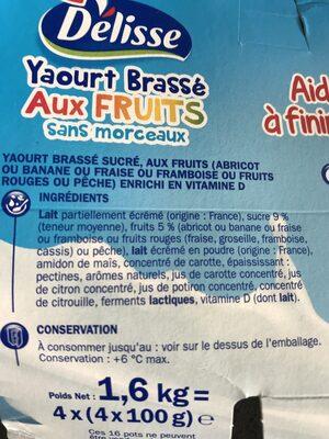 Yaourt brassé pulpe fruits - Ingredients