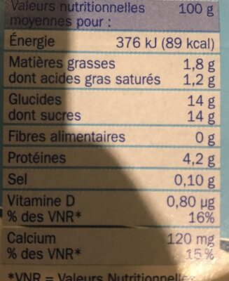 Yaourt brassé pulpe fruits - Nutrition facts