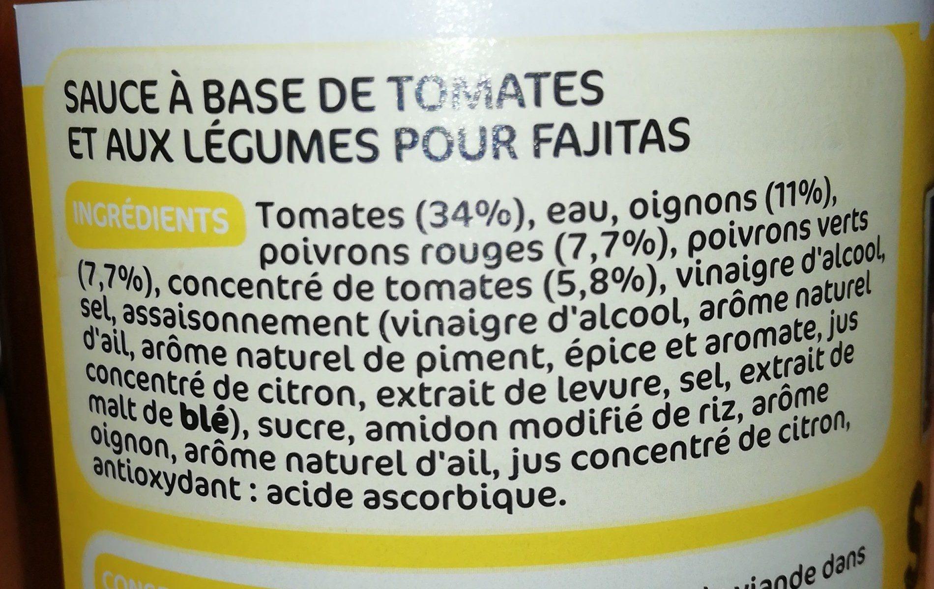 Sauce pour fajitas - Ingrediënten