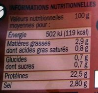 Bacon (15 Tranches) - Nutrition facts