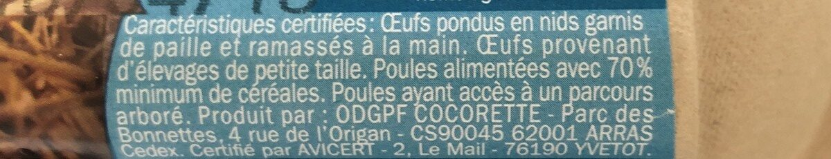 Oeufs fermiers label rouge x 6 - Ingredients - fr