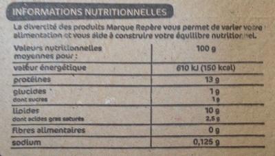Oeufs fermiers label rouge x 6 - Nutrition facts