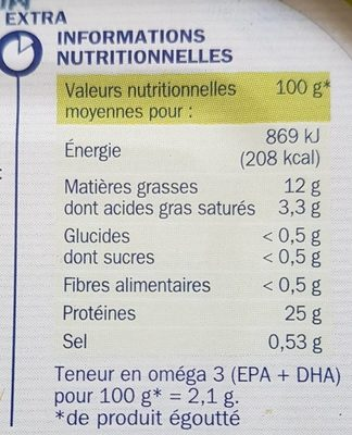 Sardines à l'huile d'olive - Nutrition facts
