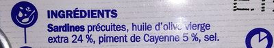 Sardines hui olive/piment 1/5 - Ingrediënten - fr