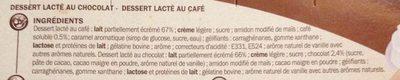 Liégeois 4 chocolat 4 café - Ingredients