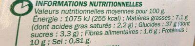 Tortellini boeuf oignon - Informations nutritionnelles - fr