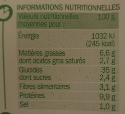 Raviolis pur boeuf - Nutrition facts