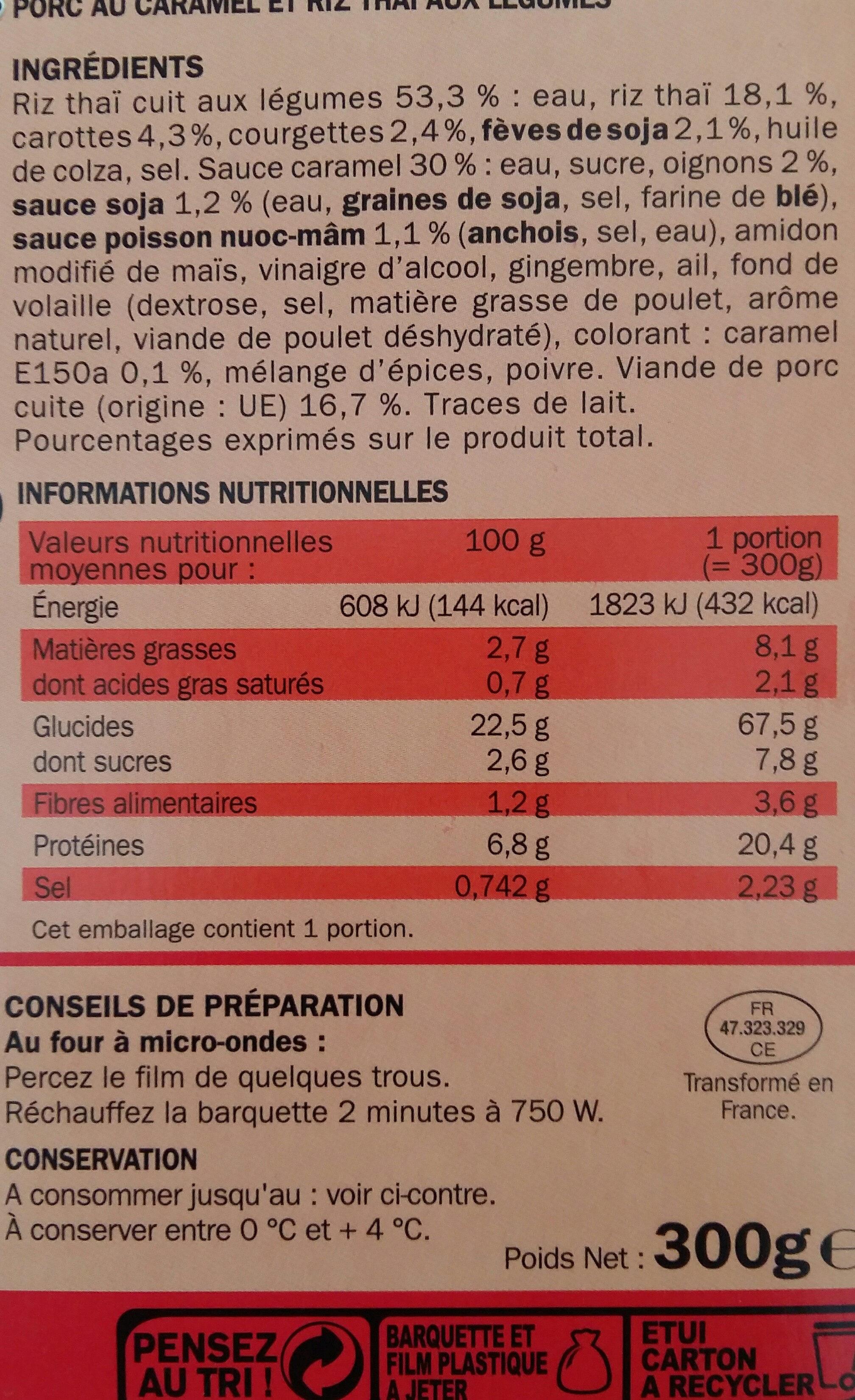 Porc au caramel et son riz thaï - Voedingswaarden - fr