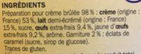 Préparation pour crème brûlée - Ingredients