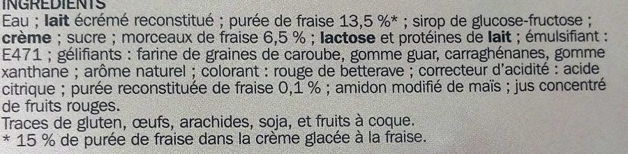 Bac crème glacée fraise - Ingrediënten - fr