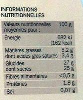 Crème Glacée Fraise avec Morceaux de Fraise - Nutrition facts