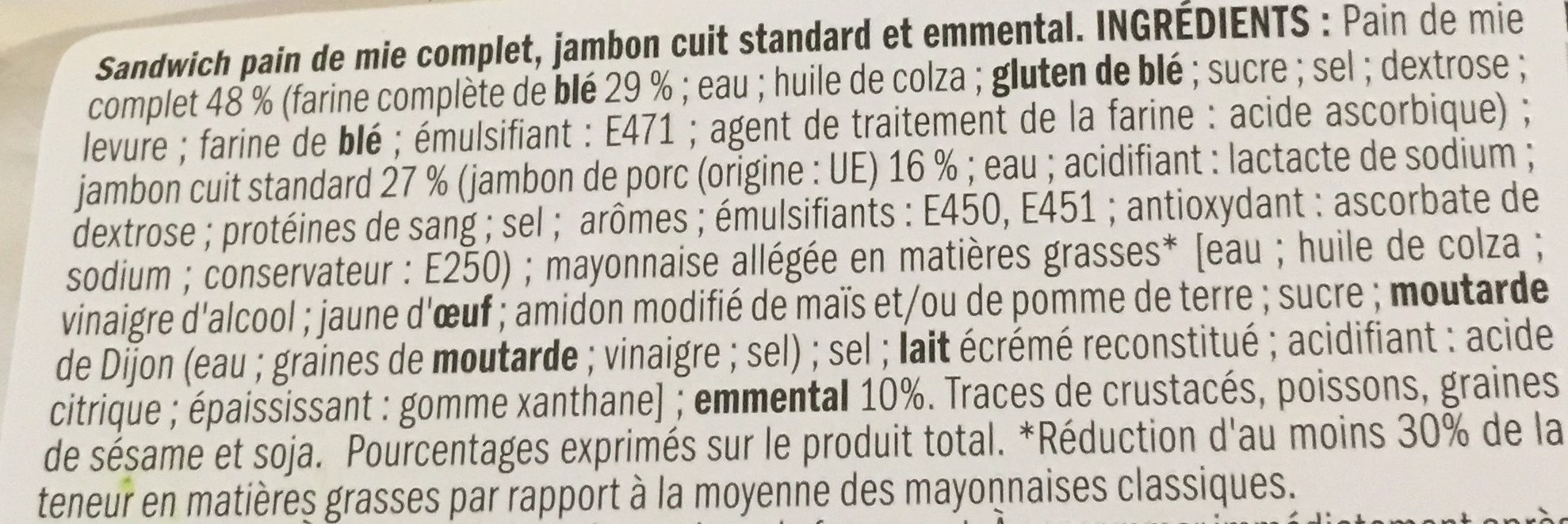 Sandwich jambon emmental - Ingredients