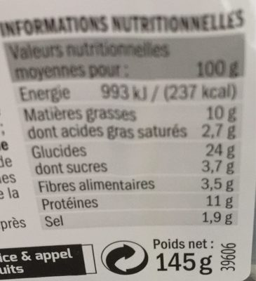 Sandwich jambon emmental - Nutrition facts