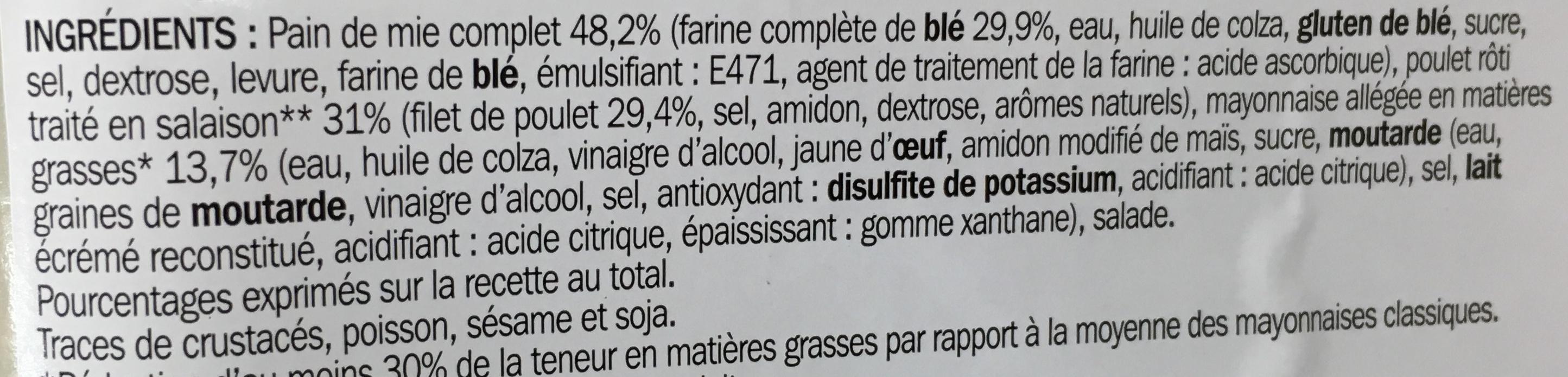 Sandwich club poulet rôti mayonnaise allégée - Ingrediënten - fr