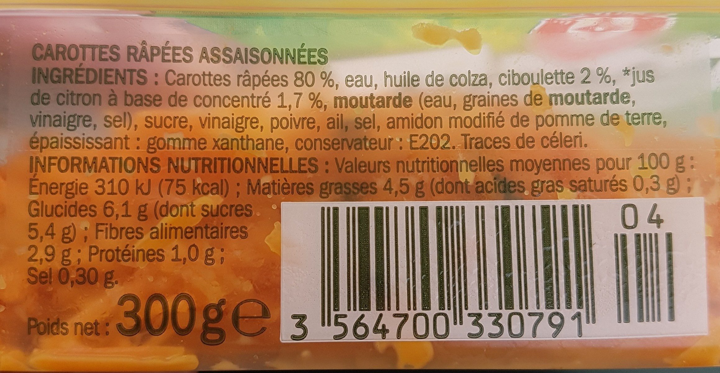 Salade carottes rapées - Ingredients - fr