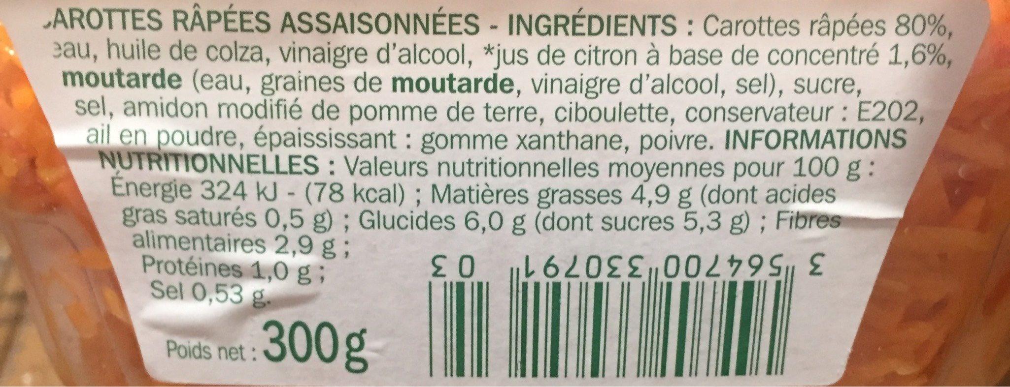 Salade carottes rapées - Informations nutritionnelles