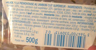 Salade piémontaise au jambon supérieur - Informations nutritionnelles