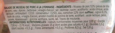 Salade de museau de porc - Informação nutricional - fr