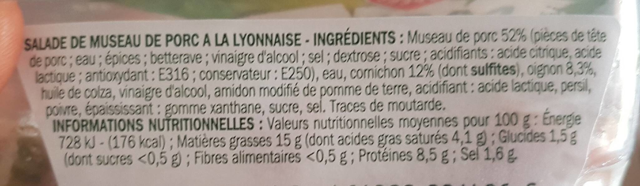 Salade de museau de porc - Nutrition facts