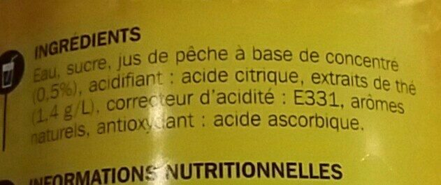 Boisson au thé à la pêche - Ingrédients - fr